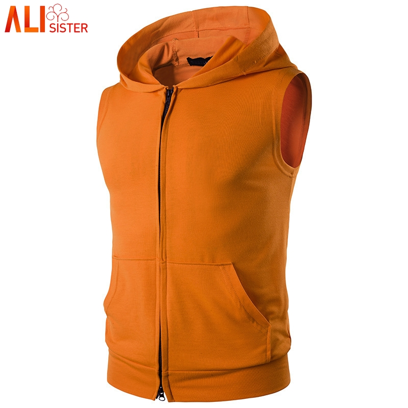 Mens Sleeveless Zip Hoodie Vest Muscle Bodybuilding Gym Tank Tops Outfits Coats