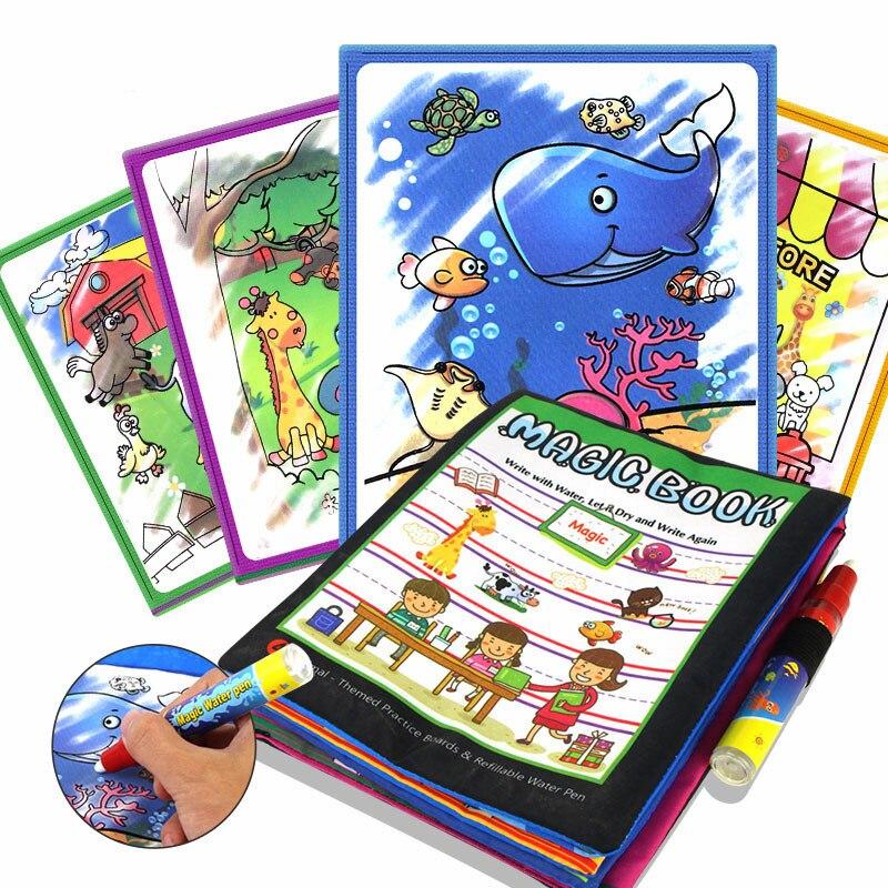 Магия воды Рисунок книга детей Животные рисунок книги с Magic Pen детские развивающие Doodle картина доска окраска Рисунок Игрушки