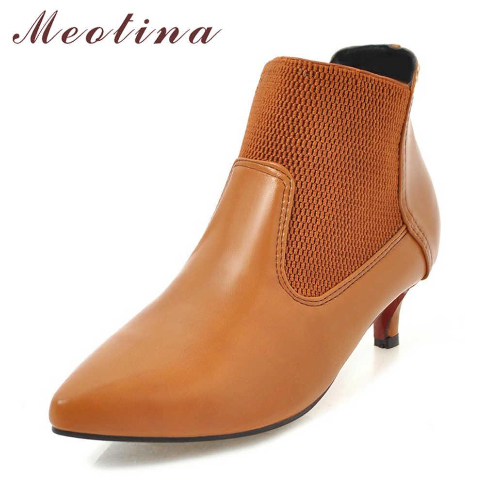 Meotina Kadın Ayakkabı yarım çizmeler Yavru Topuk Chelsea Çizmeler Sonbahar Orta Topuk kısa çizmeler Kış Yay Bayanlar moda ayakkabılar 45 46