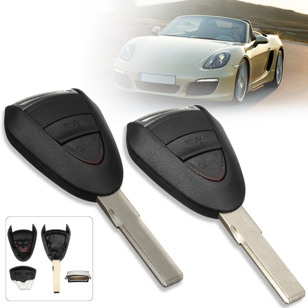 2Pcs 2 Buttons Lock Unlock Car Remote Key Fob Case Shell Uncut Blade For Porsche/Carrera 911 997 Boxster S 2S 4S Turbo