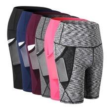 Женские шорты с высокой талией для йоги с косыми карманами для бега и тренировок, быстросохнущие обтягивающие тянущиеся для фитнеса