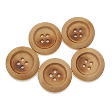 30Pcs 25mm Beige Round Wooden Sewing Buttons For Clothes Needlework Scrapbooking Crafts Decorative Diy Accessories