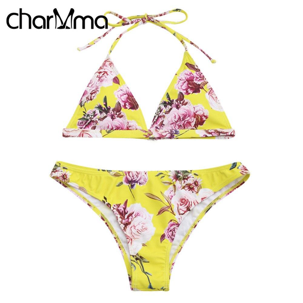CHARMMA Floral Print Halter Push Up Yellow Bikini Bathing Suit Sexy Swimwear Women Brazilian Bikini 2017 Female Bandage Bikinis endearing halter push up floral bikini and dress swimwear suit for women