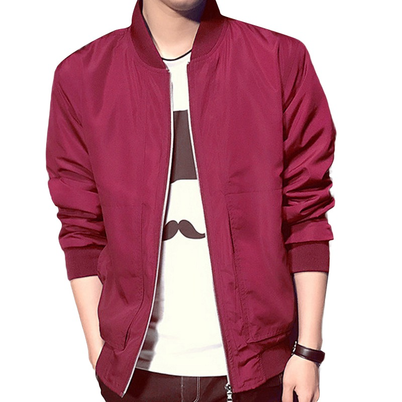Spring Autumn Men s Slim Stand Collar Red Blue Dark Color Jackets Coats Male Casual Jacket