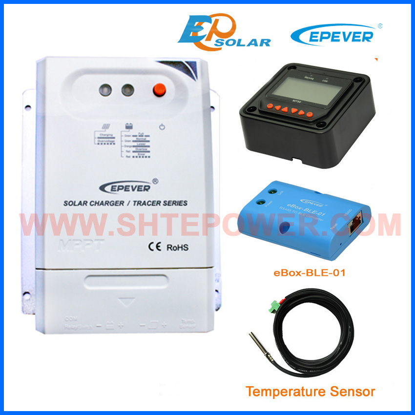 Solar regulator mppt portable battery charger EPsolar BLE bluetooth MT50 meter temperature sensor Tracer3210CN 30amp mppt 20a solar regulator tracer2210a with mt50 remote meter and temperature sensor