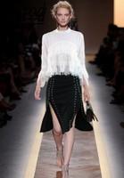 2018 Women S Sets Retro Chiffon White Tops And Sexy Fashion Rivet Balck Skirt Work Business