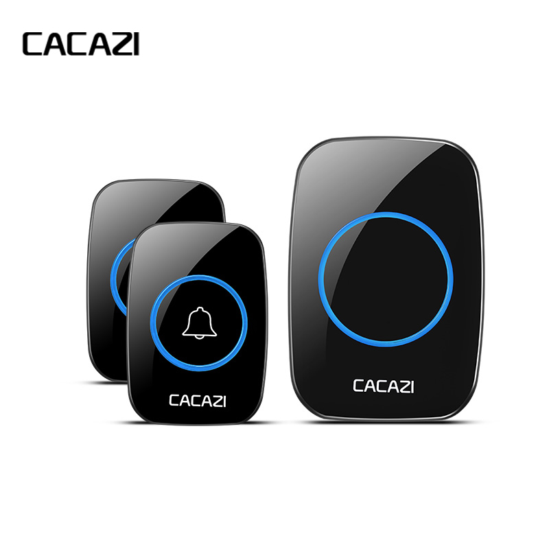 CACAZI New Waterproof Wireless Doorbell 300M Remote CALL EU/UK/US/AU Plug smart Door Bell Chime 220V 1V2 buttons 1V2 receivers-in Doorbell from Security & Protection