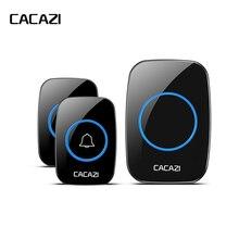 CACAZI yeni su geçirmez kablosuz kapı zili 300M uzaktan çağrı ab/İngiltere/abd/AU tak akıllı kapı zili Chime 220V 1V2 düğmeler 1V2 alıcıları
