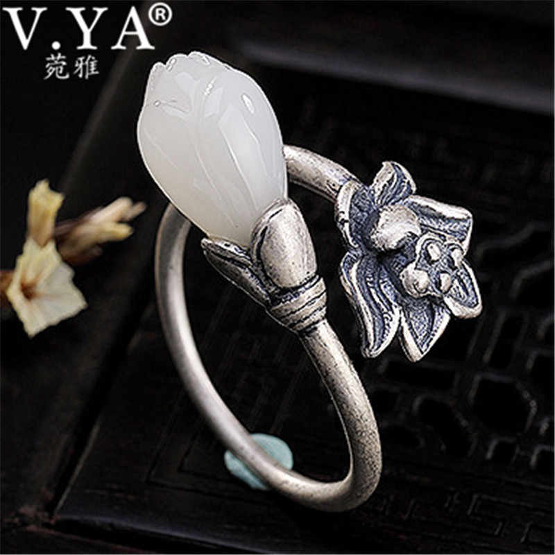 V.YA White Stone Flower Ring Women 925 Sterling Silver Rings for Female Jewelry Wedding Party Gift