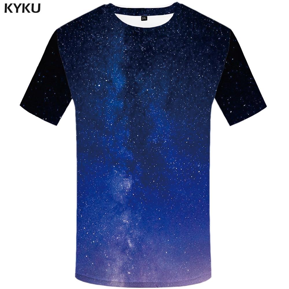 T-shirts Kenntnisreich Kyku Marke Galaxy T-shirt Männer Blau Gedruckt T-shirt Hip Hop T-shirt Streetwear Anime Kleidung Graphic Tee Vintage Herren Kleidung 2018 Wohltuend FüR Das Sperma Herrenbekleidung & Zubehör