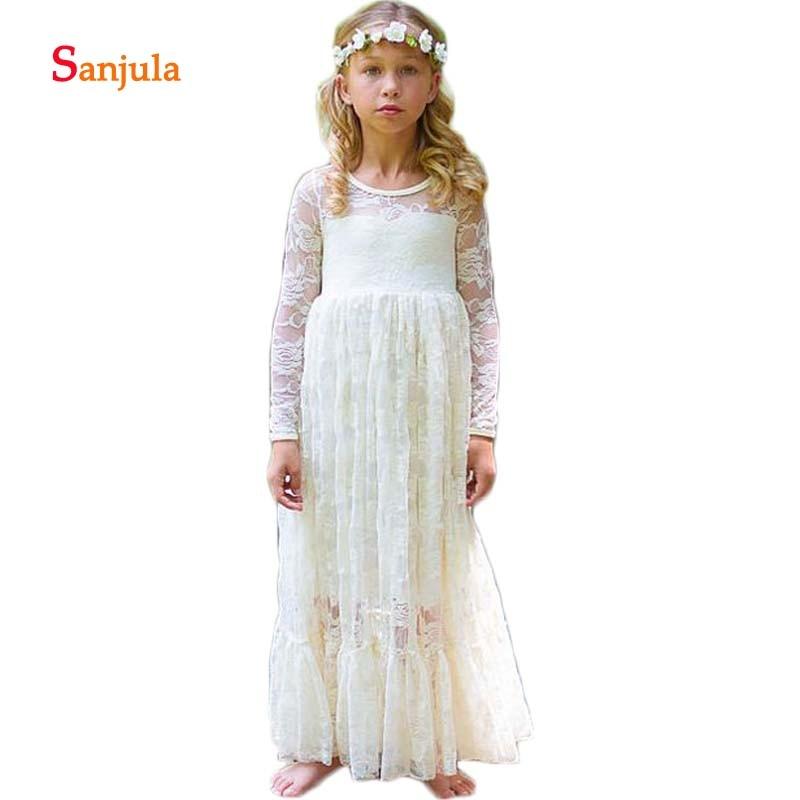 A-Line Lace   Flower     Girls     Dresses   Long Sleeve Wedding Party   Dress   for Kids Children First Communion   Dresses   vestido comunion D83