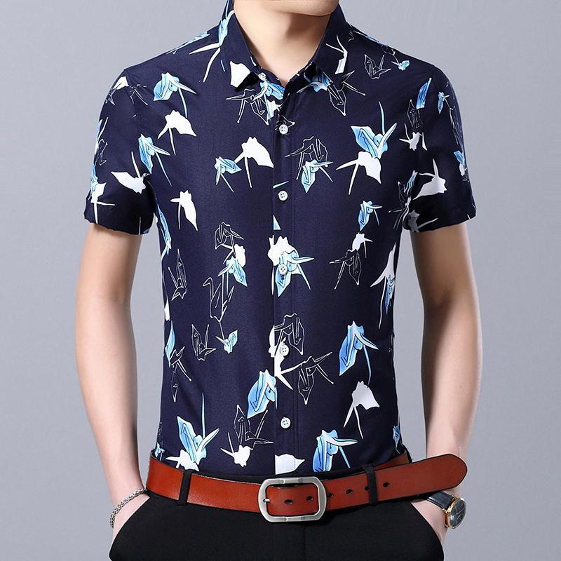 Casual Shirt Man Summer Dress Mens Clothing Fashion Short sleeve Slim fit Shirts