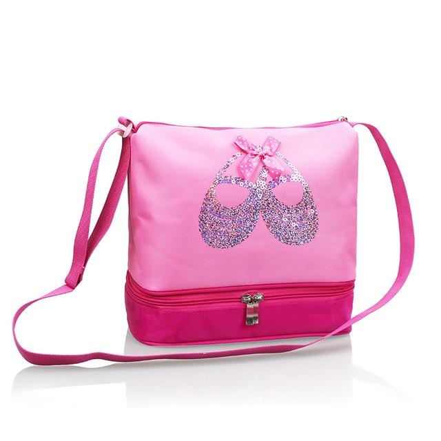 ba69d808605 Grils Kids Dance Embroidered Sequin Ballet Shoes Pink Dance Ballet bolsos  de lona impermeable bolsa de