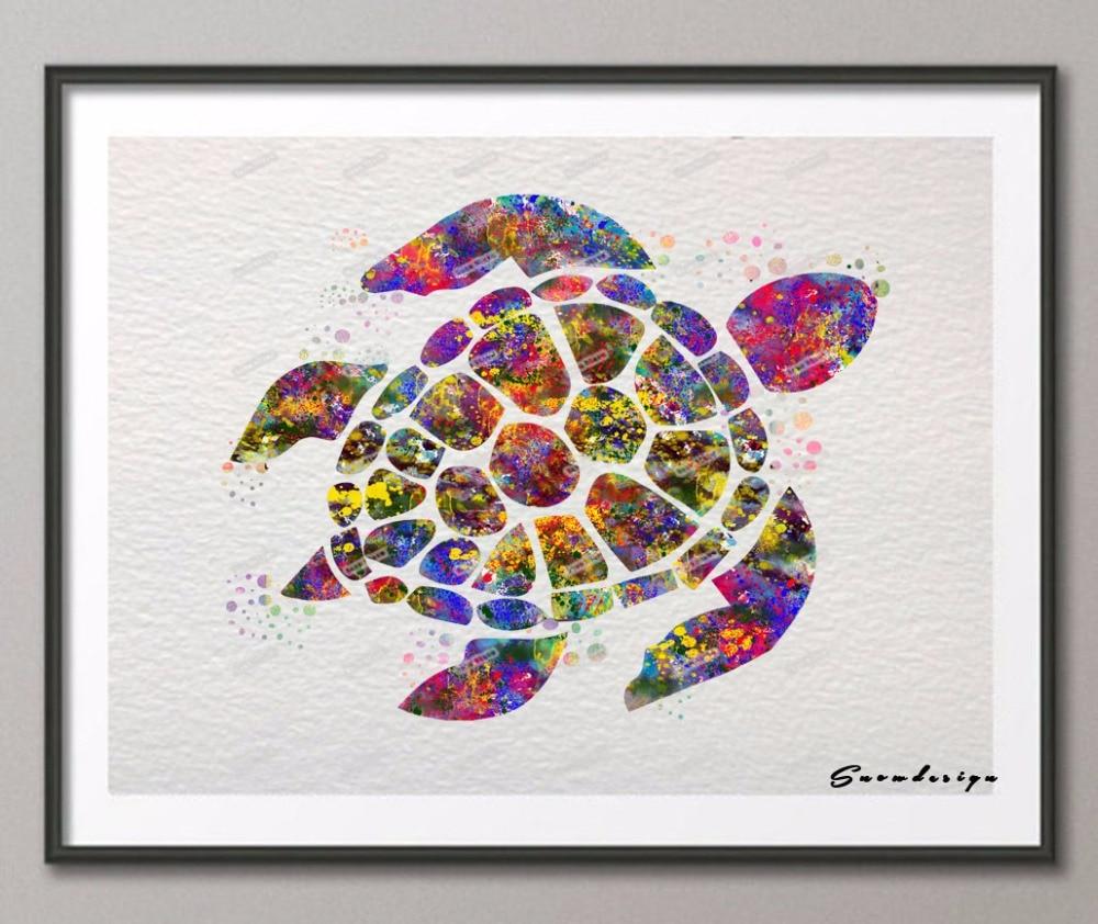 Diy Original Watercolor Sea Turtle Canvas Painting Pop