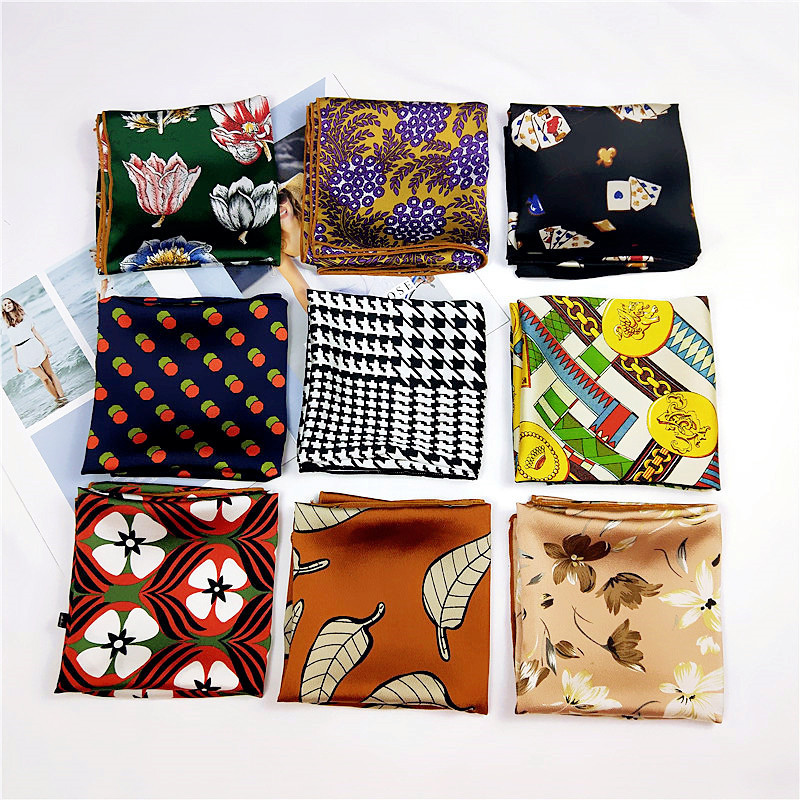 60*60cm Women Print Neckerchief Small Bandana Multicolor Square Scarves Foulard Femme Hair Tie Band Twill Silk Scarf