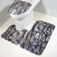 Cashmere Rock Raised Grain Bathroom Mat 3pcs Pad Anti Slip Doormat Door Mat Pad Bathroom Shower