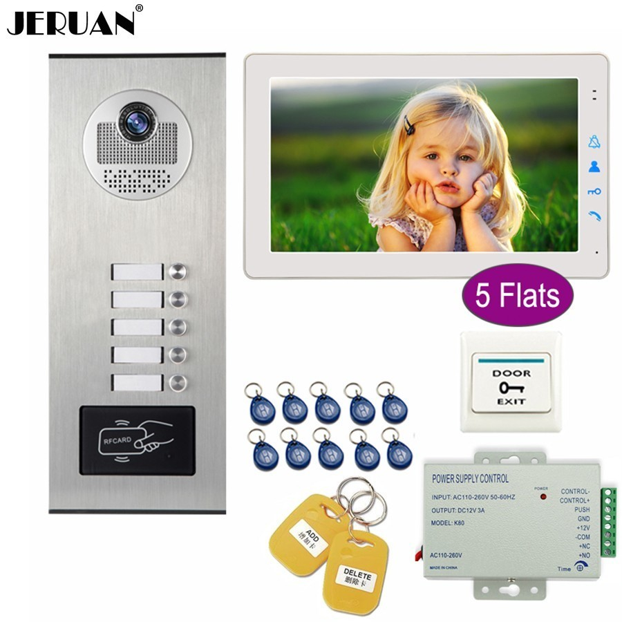 JERUAN  9 inch Video Door phone Doorbell DoorPhone Intercom System Kit HD RFID Access Camera For 5 Households Apartment BellJERUAN  9 inch Video Door phone Doorbell DoorPhone Intercom System Kit HD RFID Access Camera For 5 Households Apartment Bell