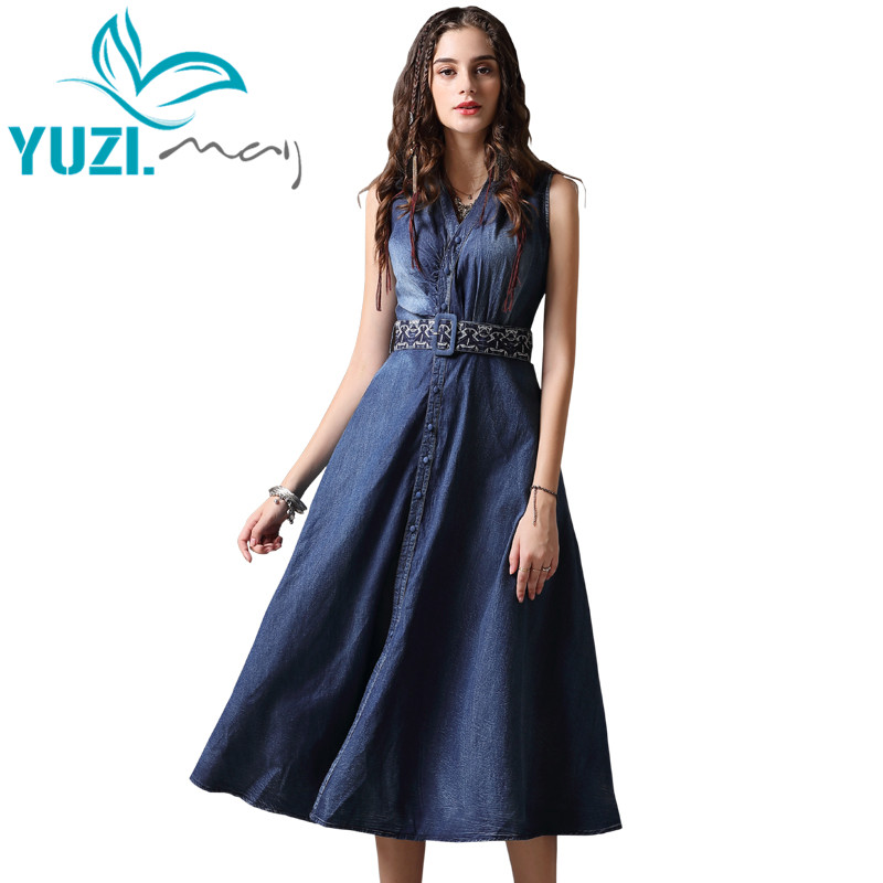 Summer Dress 2018 Yuzi may Boho New Denim Vestidos V Neck A Line Sleeveless Belted Single