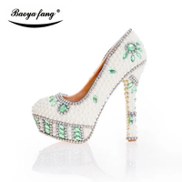 Beige Pearl Women Beaded Wedding Shoes Bride Fashion Dress Shoes Thin Heel Platform Shoes Woman Leather