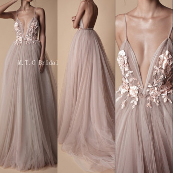 Sexy Backless Tulle Evening Dress Exquisite Flowers A Line Sweep Train Spaghetti Strap Long Formal Occasion Dresses 2019 New