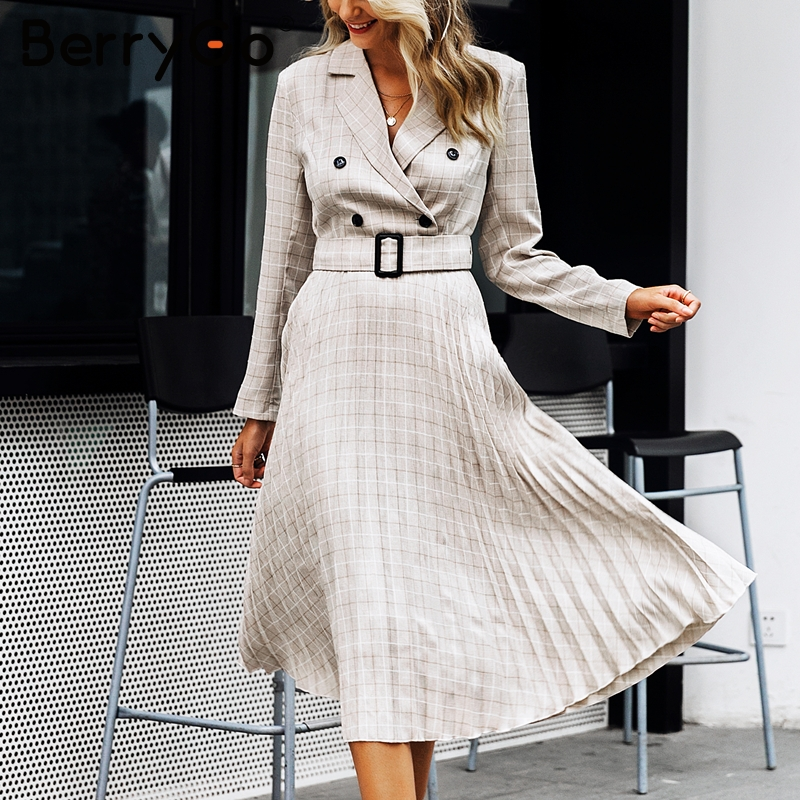 Image 3 - BerryGo Autumn winter women blazer dresses vestidos Pleated plaid  long dress elegant Office ladies high waist belt female robeDresses