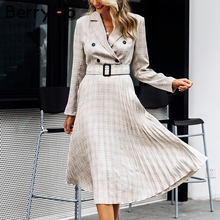 Pleated plaid long dress