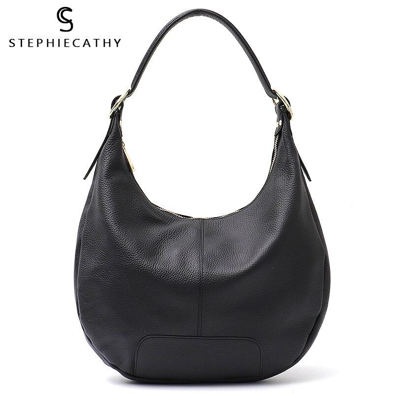 SC marque de luxe femmes Hobo sacs en cuir véritable de haute qualité épaule et Messenger sacs pour dames oreiller en cuir de vache sacs à main-in Sacs à poignées supérieures from Baggages et sacs    1