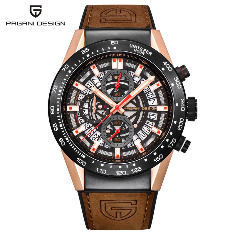 PAGANI DESIGN Luxury Mens Watches Quartz Brown Leather Bracelet Chronograph Wristwatches Auto Date relogio masculino PD-2768