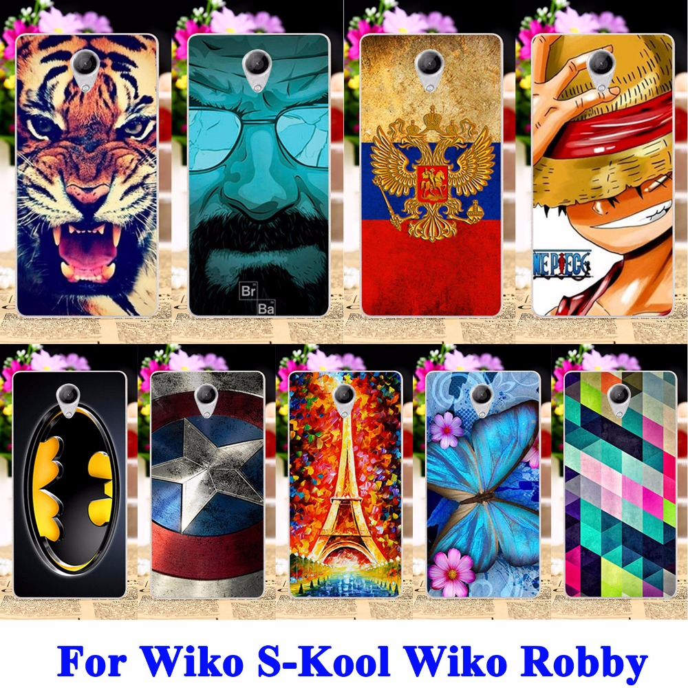 AKABEILA Soft TPU Hard PC Mobile Phone Cases For Wiko S-Kool Wiko Robby Covers Cat Tiger Captain American Bag Skin Durable Shell