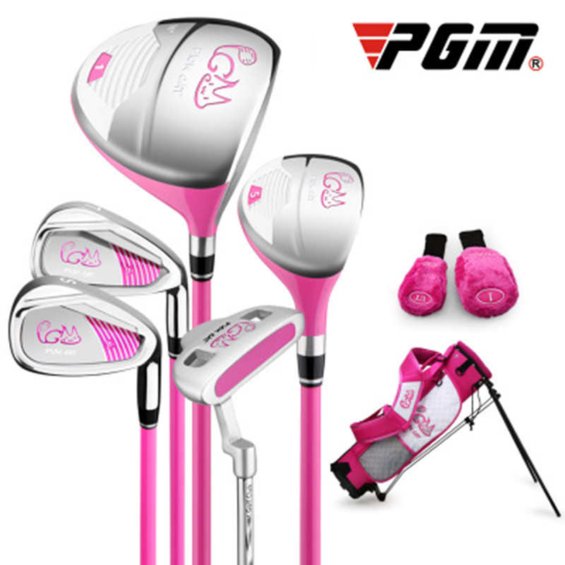 PGM Pickcat 3-12 Years Old Kids' Golf Club Set For Girls & Boys, 5 Golf Clubs With A Rack Bag, 2 Free Headcovers