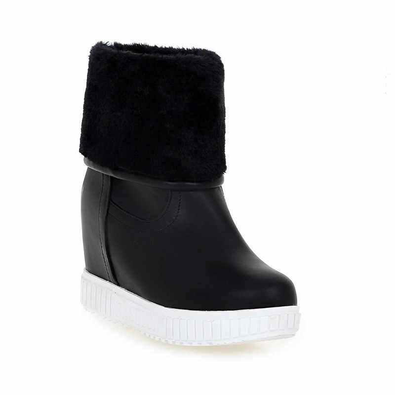 MEMUNIA 2018 yeni moda yarım çizmeler kadınlar için yuvarlak ayak takozlar platform ayakkabılar tutmak sıcak kar botları kadın Su Geçirmez siyah