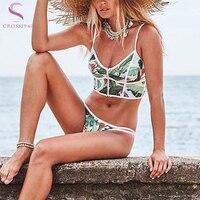 Women Floral Bikini Set Halter Crop Top Zip Vest Push Up Padding Bra Swimwear Swimsuit Beachwear