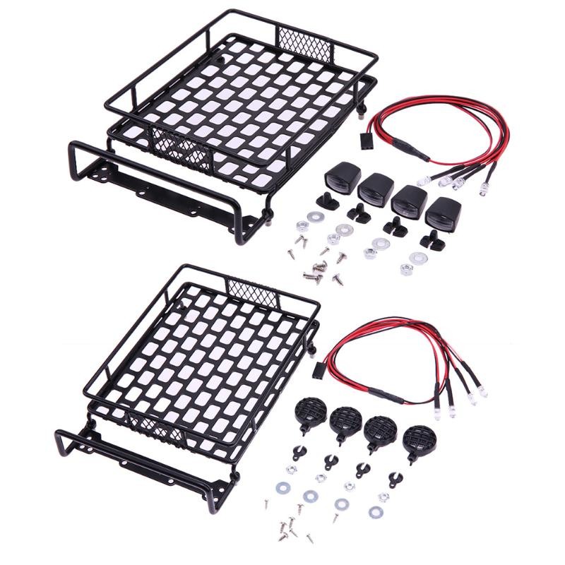 1:10 RC Crawler Imitation Roof Travel Luggage Rack + 4LED for Axial SCX10 RC Crawler Accessories night crawler