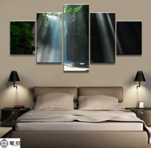 Home Decor Modular Canvas Picture 5 Piece Waterfalls in the Forest Painting Art Poster Wall For Wholesale