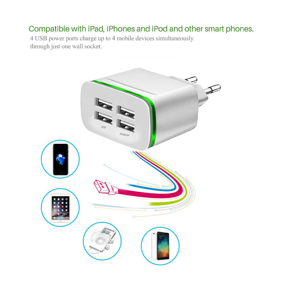 BY Hero Quente Porta USB Charger Adapter 4A 4 Carga Plugue Lampada LED Multi Hub Port Carregador Viagem Iphone Ipad Samsung xiaomi