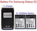 3.7 v 2x1650 mah batería para samsung galaxy s2 sii i9100 gt-i9100 batería batterie batterjie con cargador de pared caliente del envío gratis