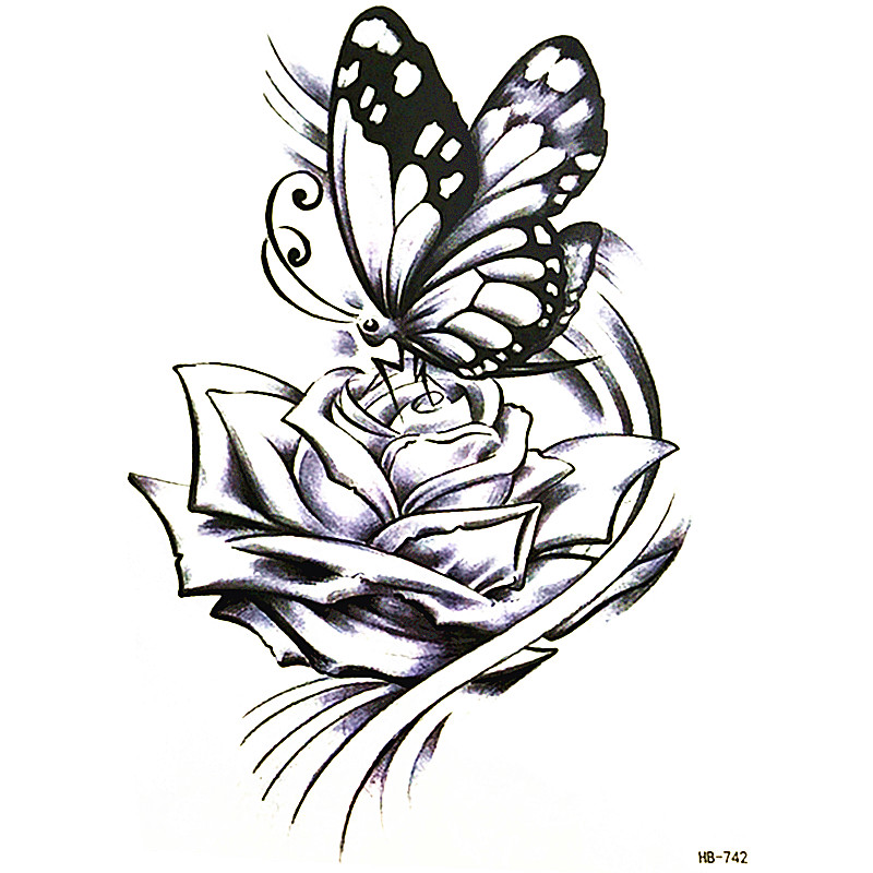Chegam novas Moda watertransfer adesivo a flor borboleta