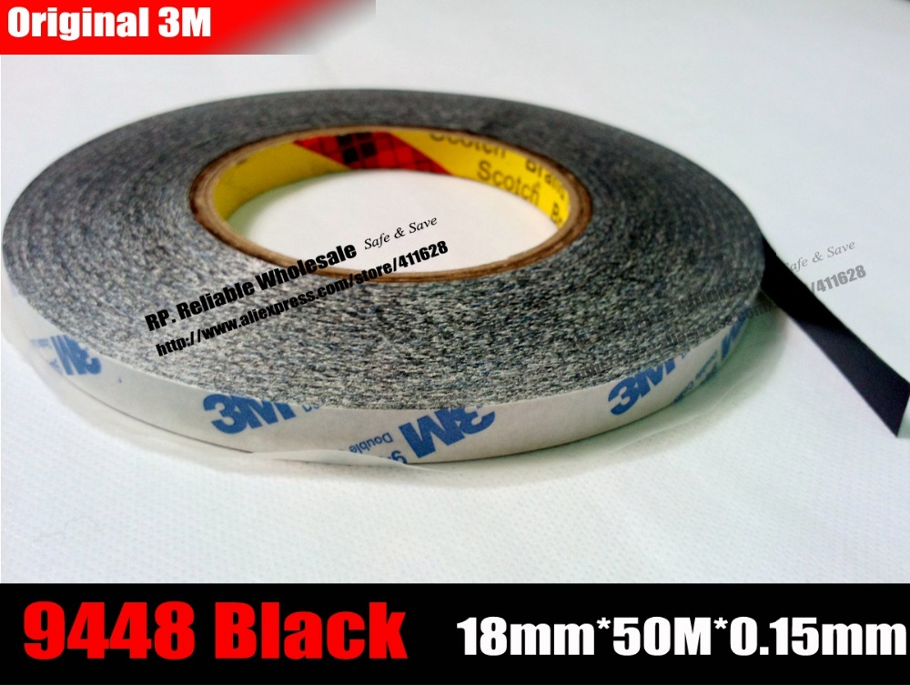 (18mm* 50 meters) 3M Black Strong Double Sided Adhesive Tape for Tablet, Mini Pad, Cellphone Screen, Display, Frame Repair 20mm 55m 0 17mm 3m 300lse 9495le super strong double sided adhesive transfer tape for iphone tablet phone mini pad touch lcd