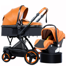 belecoo baby stroller 2 in 1/3 in 1 PU stroller High landscape two way baby stroller four wheel trolley folding portable trolley portable baby stroller baby car baby stroller folding child trolley eu big high baby stroller leather