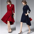 Women's Clothing 2016 Fall Latest Fashion V-neck Irregular Dresses Ladies Slim Fit Butterfly One-piece Dress Gift Free Shipping
