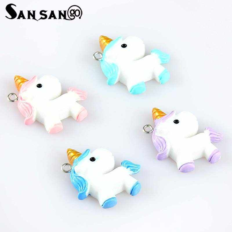 10pcs Mix Colorful Cartoon Cute Unicorn Charms For Women Girls DIY Making Rainbow Kawaii Necklace Pendant Keychain Jewelry Gift