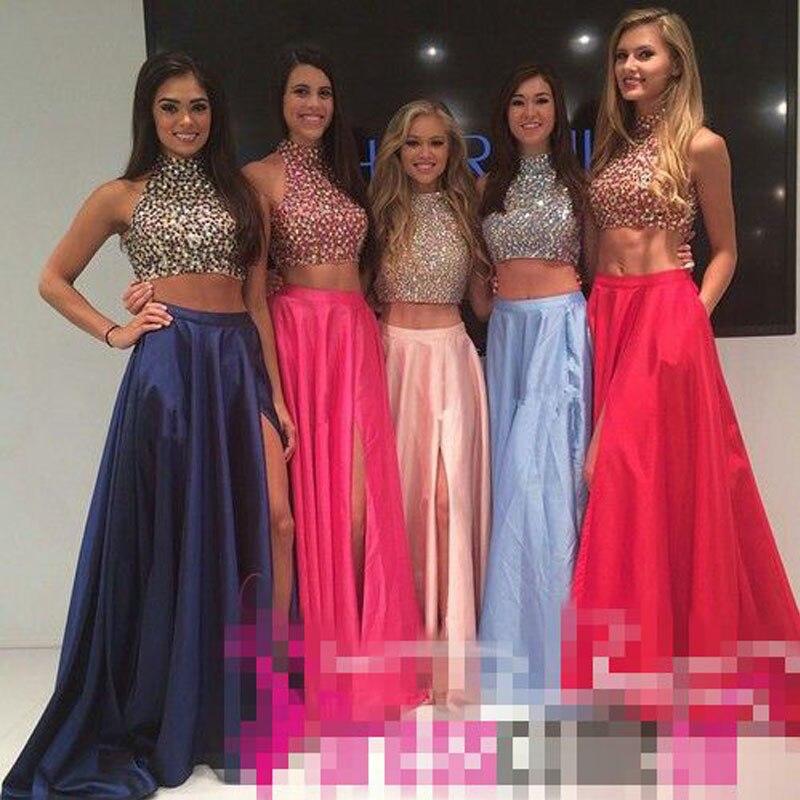 Long Prom Dresses For 2016 Sleeveless Split Pocket Two Piece Prom