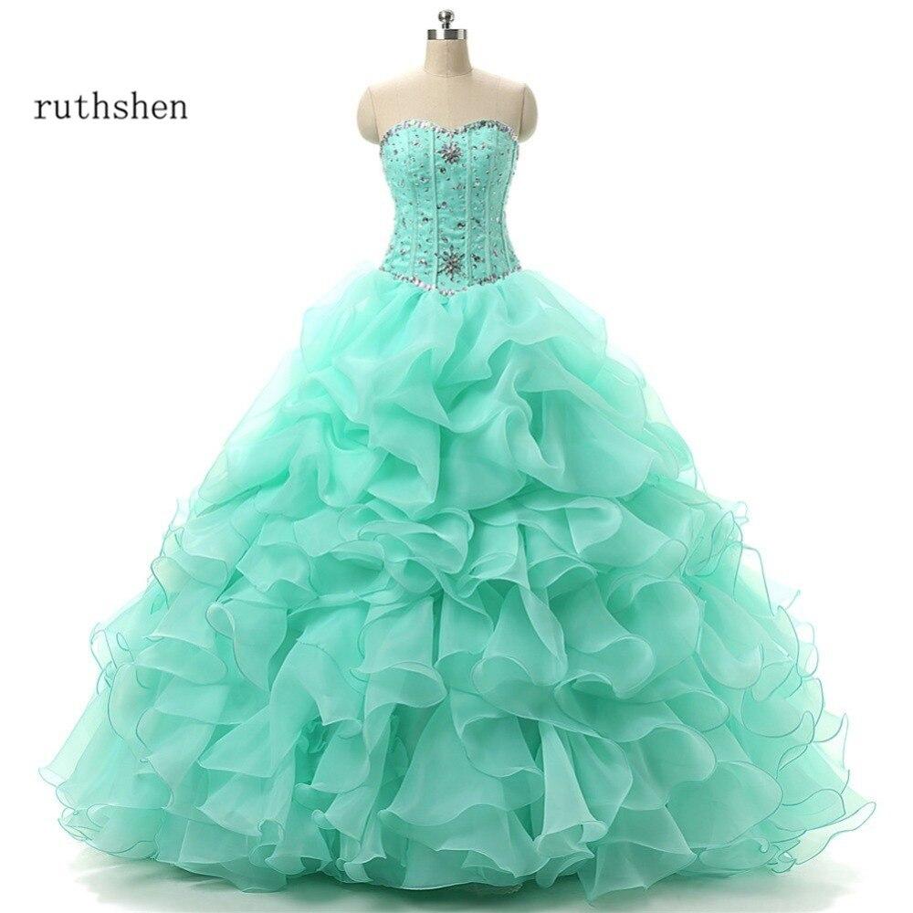 Robes de Quinceanera vert menthe impitoyable volants perlés chérie 16 robes de bal mascarade robe de bal Debutante pas cher