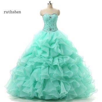 564ee7ef2 Ruthshen verde menta Quinceañera vestidos de novia con cuentas volantes dulce  16 trajes de disfraces barato Debutante vestido de baile de graduación