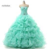 ruthshen Mint Green Quinceanera Dresses sweetheart beaded ruffles Sweet 16 Masquerade Ball Gowns Cheap Debutante Prom Dress