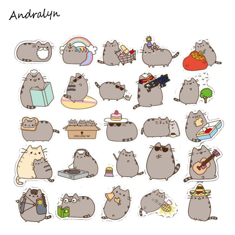 New 100Pcs/Set Cartoon Pusheen Cat Cute Stickers Pvc Waterproof Stickers For Luggage Laptop Car Bike Skateboard Toy Sticker Gift