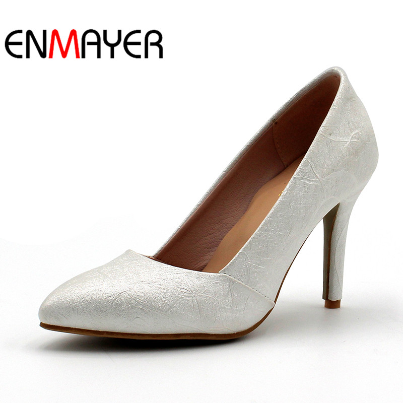ENMAYER Spring Autumn Women Casual Fashion Pumps Shoes Party Pointed Toe Slip-On Thin Heels Large Size 34-47 Blue Pink White enmayer spring autumn women fashion wedding pumps shoes rhinestone beading pointed toe slip on thin heels large size 34 43 white