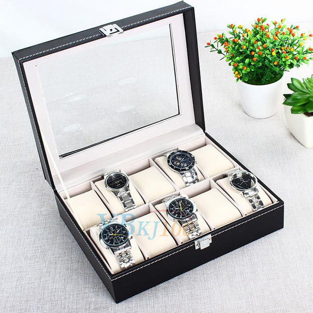 TOPINCN 10 Grid Leather Watch Box Display Case Box Jewelry