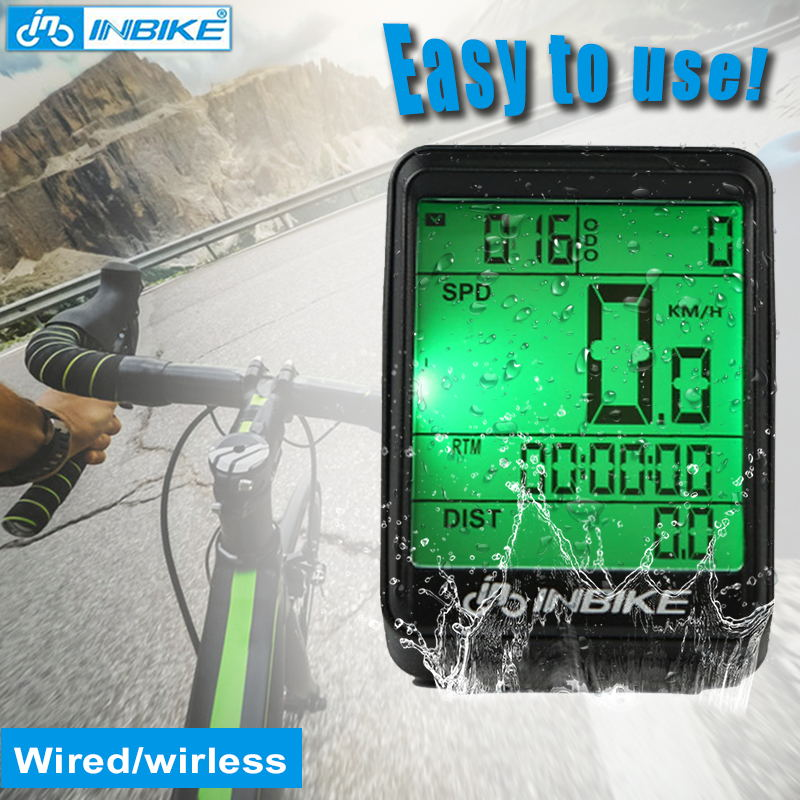 INBIKE Bike Computers Wireless Bicycle Odometer Cycle Computer Stopwatch Waterproof Backlight Speedometer Wireless Wired #A5