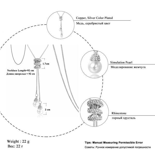 RAVIMOUR Simulé Perle de Foulard Colliers pour Femmes Couleur Argent À Longue Chaîne Collier Pendentif Bijoux Accessoires À La Mode Kolye 2